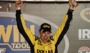 Matt Kenseth celebrates after winning the IRWIN Tools Night Race Saturday at Bristol (Tenn.) Motor Speedway. (Drew Hierwarter Photo)