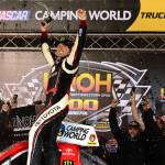 Kyle Busch celebrates in victory lane after winning Wednesday's NASCAR Camping World Truck Series race at Bristol (Tenn.) Motor Speedway. (Joe Secka/JMS Pro Photo)