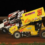 J.J. Grasso (25), Dave Betts (22) and Kevin Nouse during the 2013 Rislone URC Sprint Series event at Williams Grove Speedway. (Julia Johnson Photo)