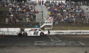 Bobby Baillargeon crosses the finish line to win Sunday's Granite State Pro Stock Series event at Hudson Int'l Speedway in New Hampshire. (Eric Lafleche Photo)