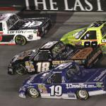 Justin Lofton (6), Brad Keselowski (19), Joey Coulter (18) and Matt Crafton during Wednesday's NASCAR Camping World Truck Series race at Bristol (Tenn.) Motor Speedway. (NASCAR Photo)
