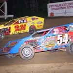 Brian Hayden and Paul Bumgardner race for position during Saturday's modified feature at Indiana's Lincoln Park Speedway. (LPS photo)