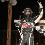 Bryan Clauson celebrates after winning Sunday's Lucas Oil POWRi National Midget Series event at Belle-Clair Speedway in Belleville, Ill. (Don Figler Photo)