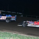 Jake Meier (20) battles Dave Eckrich during Friday's Corn Belt Clash event at Fayette County Speedway in West Union, Iowa. (Mike Ruefer Photo)