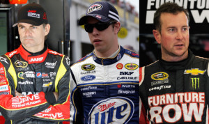 Former Sprint Cup champions Jeff Gordon (left), Brad Keselowski (center) and Kurt Busch are ally battling for a spot in the 2013 Chase for the Sprint Cup.