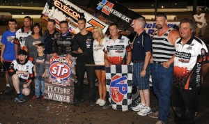 Craig Dollansky, pictured in victory lane at Pevely, Mo. in 2013, won at Knoxville (Iowa) Saturday night. (Don Figler photo)