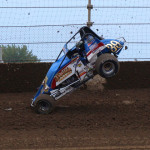 Justin Grant flips his sprinter during his heat race for Thursday's AMSOIL USAC National Sprint Car Series race at Kokomo (Ind.) Speedway. (Gary Gasper Photo)