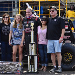 A.J. Fike is joined by his family in victory lane after winning Saturday's Tony Bettenhausen 100 at the Illinois State Fairgrounds. (Brittany Irene Brunswig Photo)