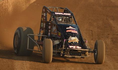 Dave Darland won Friday's USAC sprint car feature at Kokomo (Ind.) Speedway. (David E. Heithaus photo)