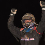 Dave Darland celebrates after winning Friday's AMSOIL USAC National Sprint Car Series feature at Kokomo (Ind.) Speedway. (Dave Heithaus Photo)