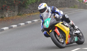 Michael Russell was the winner in the SuperTwin class during the Manx Grand Prix on Friday. (Dave Kneen Photo)