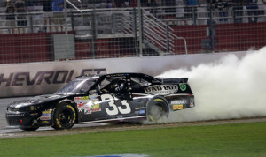 Kevin Harvick celebrates after winning the NASCAR Nationwide Series race Saturday night at Atlanta Motor Speedway. (HHP/Harold Hinson Photo)