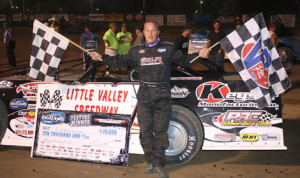 Darrell Lanigan scored his 50th career World of Outlaws Late Model Series victory Thursday at Little Valley (N.Y.) Speedway. (Kevin Kovac/WoO LMS Photo)
