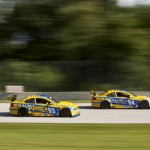 The Turner Motorsport BMW M3's during Saturday's Grand-Am Rolex Sports Car Series race at Road America. (Shawn Mueller Photo)