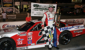 Ross Kenseth in victory lane after winning Saturday's PASS South late-model feature at South Boston (Va.) Speedway. (Mark Rogers Jr./Race22 Photo)