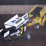 Bill Balog (17b) battles Mike Reinke en route to his 11th IRA sprint car victory of the season Saturday at Wisconsin's Beaver Dam Raceway. (Bob Cruse photo)
