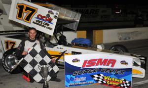 Ben Seitz won Friday's International Supermodified Ass'n event at Delaware (Ontario) Speedway. (Jim Feeney Photo)