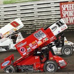 Jonathan Allard (0), Bronson Maeschen (96) and Kraig Kinser during Friday's preliminary Knoxville Nationals event at Knoxville (Iowa) Raceway. (Dick Ayers Photo)
