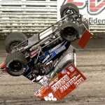 A.J. Moeller catches some air during Knoxville Nationals preliminary action Friday at Knoxville (Iowa) Raceway. (Dick Ayers Photo)