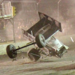 Steve Kinser takes a wild ride on the frontstretch during Friday's World of Outlaws STP Sprint Car Series race at Edmonton's Castrol Raceway. (Dan Fredrickson photo)