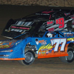 Dirt late models battle side by side at LaSalle Speedway in Illinois. (Keenan Wright photo)