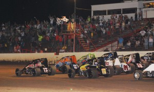 The Midwest Sprint Car Series field makes a parade lap at Tri-State Speedway last year. (Doug Vandeventer photo)
