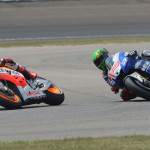Marc Marquez (93) overtakes Jorge Lorenzo during Sunday's MotoGP event at Indianapolis Motor Speedway. (Dave Heithaus Photo)