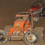 Thomas Meseraull (5) battles Hunter Schuerenberg Friday during AMSOIL USAC National Sprint Car Series action at Kokomo (Ind.) Speedway. (Dave Heithaus Photo)