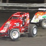 Jon Stanbrough (66) battles Kyle Larson during Tuesday's USAC Ultimate Challenge at Southern Iowa Speedway. (Dick Ayers Photo)