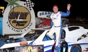 Buzzie Reutimann In victory lane after winning the 50-lap Larry Miller Memorial for the Gagel's Open Wheel Modifieds at East Bay Raceway Park on Saturday. (Mike Horne Photo)