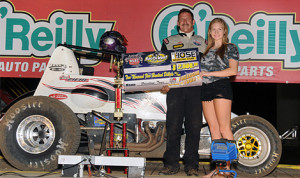 Rick Ziehl stands in victory lane after winning Thursday's USAC Southwest Sprint Car Series Freedom Tour event at 81 Speedway. (Lonnie Wheatley Photo)