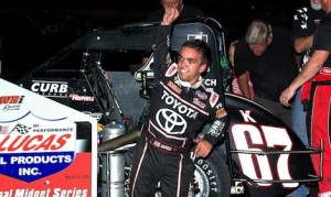 Rico Abreu in victory lane Friday night at Lincoln (Ill.) Speedway. (Randy Brown photo)