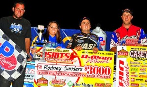 Rodney Sanders in victory lane at Granite City Speedway. (USMTS photo)