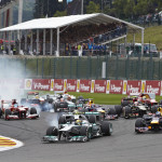The Formula One World Championship field flows into the first turn at the start of Sunday's Belgian Grand Prix. (Steve Etherington Photo)