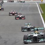 Lewis Hamilton leads a pack of cars during Sunday's Belgian Grand Prix. (Steve Etherington Photo)