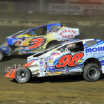 Jimmy Phelps (98) and Chad Brachmann fight for position during modified action at Sharon Speedway in Hartford, Ohio. (Mike Gbur/JMS Pro photo)