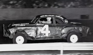 Skippy Michaels guides his '51 Oldsmobile around the quarter-mile paved track at Chicago's Solider Field in 1952. (Ed Coffey Photo)