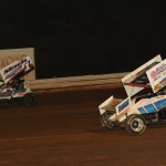 Mark Smith (1) battles Kevin Nouse during Saturday's Rislone URC Sprint Series event at Williams Grove Speedway. (Julia Johnson Photo)