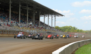 A.J. Fike and Brian Tyler lead the field during the 2013 USAC Silver Crown Series race at the Illinois State Fairgrounds. (Gordon Gill Photo)