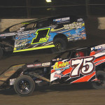 Terry Phillips (75) and Jeremy Payne during the United States Modified Touring Series event at Lakeside Speedway. (Ivan Veldhuizen Photo)