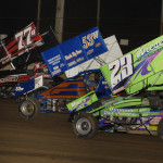 Chris Urish (77u), Bill Worth (53w) and Russell Borland during the 2013 Bumper to Bumper IRA Sprint Car Series event at LaSalle (Ill.) Speedway. (Mark Funderburk Photo)