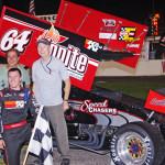 Kody Swanson won Wednesday's Hoosier Outlaw Sprint Series feature at M-40 Speedway. (Chris Seelman Photo)