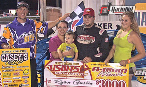 Ryan Gustin in victory lane after winning Thursday's United States Modified Touring Series feature at Cedar County Speedway in Iowa. (USMTS Photo)