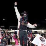 Jason Hathaway celebrates after winning Saturday's NASCAR Canadian Tire Series race at Riverside Int'l Speedway. (NASCAR Photo)