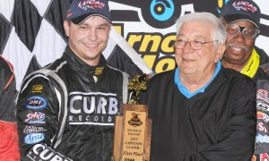 Kevin Swindell (left) stands in victory lane with Ralph Capatani after winning Sunday's Capitani Classic at Knoxville (Iowa) Raceway. (Frank Smith Photo)