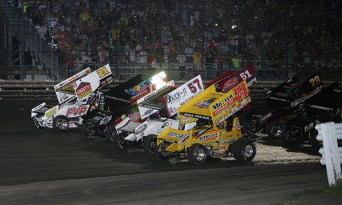 The 2013 Knoxville Nationals field prepares to go racing last year at Knoxville Raceway. Donny Schatz is the defending race winner. (Brendan Collum Photo)