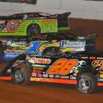 Scott Bloomquist (0), Vic Hill (1) and Ed Carrier Jr. during Lucas Oil Late Model Dirt Series action at Volunteer Speedway in 2013. (Michael Moats Photo)