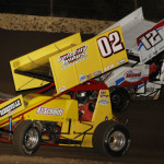 Mike Reinke (02) and Jerrod Hull during Saturday's Bumper to Bumper IRA Sprint Car Series event at LaSalle (Ill.) Speedway. (Mark Funderburk Photo)