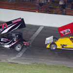 Brian Olson (71) and Brian Gerster during Saturday's Must See Racing Xtreme Sprint Series event at Anderson (Ind.) Speedway. (Chris Seelman Photo)