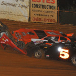 Don O'Neal (71) flips his entry during Thursday's Lucas Oil Late Model Dirt Series feature at Volunteer Speedway. (Michael Moats Photo)